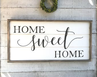 Home Sweet Home, framed shiplap sign
