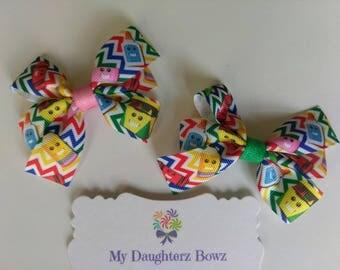 """2 hair bows - School supplies hair bow - pigtail hair bow - crayon hair bow - 3"""" hair bow - pencil hair bow - rainbow hair bow"""