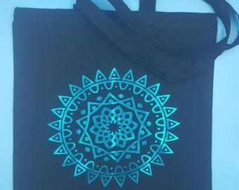 Aqua blue mandala tote bag, mandala, tote,