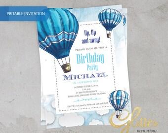 Hot Air balloon Birthday invitation,digital baby Birthday invitation, boy invitation, clouds, blue