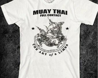 Muay Thai T-Shirt Thai Boxing Yak Sant Full Contact  Muay Boron Tiger Grappling Military Cotton Tee The Deadly Art Kick Boxing Martial Arts