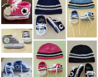 Converse inspired baby booties