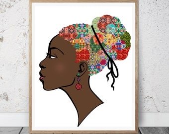 African American Woman Art Print- African American Woman Natural Hair Afro-African Woman Art- Afrocentric Art- African Print- African Art