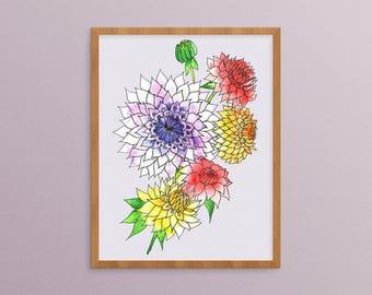 Dahlia Flowers - Watercolor Floral - Dahlia Watercolor - Watercolor Painting - Dahlia Print - Dahlia Wall Art - Botanical Print - Floral Art