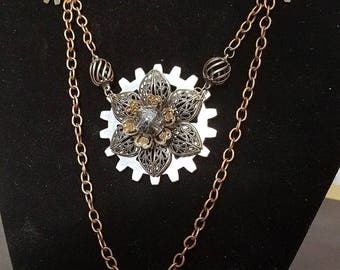 Handmade Metal Flower/Gears Steampunk Necklace