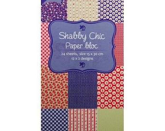 Block of 24 paper 15 x 30 cm JOY CRAFTS SHABBY CHIC