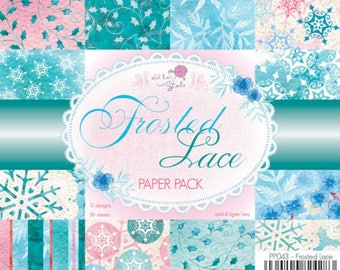 two pockets 15.2 36 papers x 15.2 cm WILD ROSE FROSTED LACE