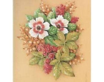 Lithograph for 3D painting 24 x 30 cm flower and leaf