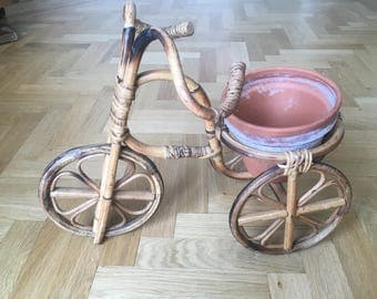 Vintage French Bohemian 1960s Bamboo Bicycle Plant Stand Large Perfect Condition