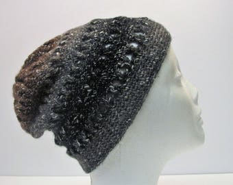 Grey, Black, Brown Not Your Grandma's Criss-Cross Slouchy Winter Hat (A6)