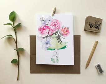 Greeting card / woman vintage florist / peonies and magnolias / greeting card / blank card / Bouquet flowers