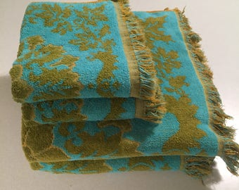 Set of Vintage Fashion Manor Bath Towels and Hand Towels Green and Teal Mid Century
