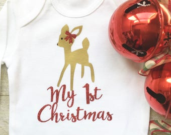 Baby Girl Christmas Onesie, My 1st Christmas Onesie, Reindeer Onesie, First Christmas Onesie,Newborn Baby Clothes, Baby Girl Clothes