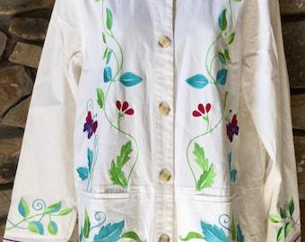 Vintage Denim Jacket White Jean Jacket Embroidered Denim Size Medium or Large  Like New