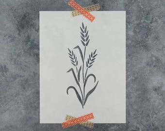 Wheat Stencil - Reusable DIY Craft Stencils of a Wheat Stalk