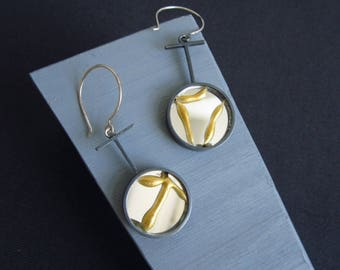 Oxidised Recovery T. Earrings encase broken mirror, healed in the kintsugi style, set in recycled silver.
