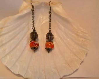 hand made enamelled Terra-cotta ceramic orange beads earrings