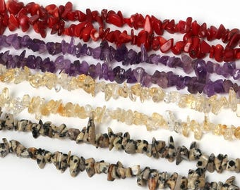 "Stone Chip Beads 34"",100% Natural Stone Guarantee!Loose Bead"