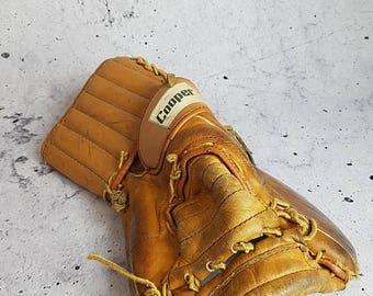 SALE Antique Cooper Hockey Goalie Glove / Vintage Leather Goalie Trapper Catch Glove Hockey Goalie Mitt Canadiana