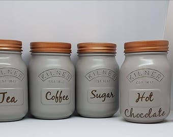 Set of 4 Matching Tea Coffee Sugar Hot Chocolate Painted Kitchen Canisters, Kilner Jars Storage, kitchen wear, grey & Copper.
