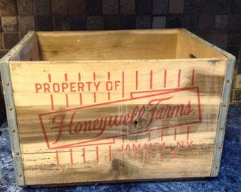 Vintage Honeywell Farm's Milk Crate- Jamaica, New York