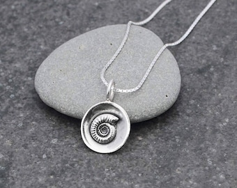 Small Silver Cupped Ammonite Fossil Pendant