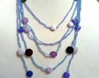 Blue Purple Seed Bead Multi-Strand Necklace, Accessories, Fashion Jewelry, Boutique