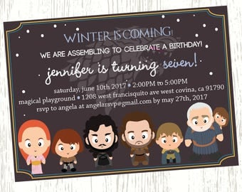 Game of Thrones Birthday Invitation, Game of thrones invitations, Game of thrones invites, Game of Thrones Birthday Party, GoT themed invite
