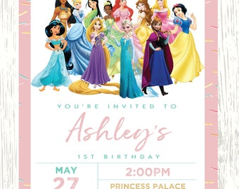 Disney Princess invitation, Princess Birthday Invitation, Disney Princess Invite, Princess Printables, princess, glitter princess invitation
