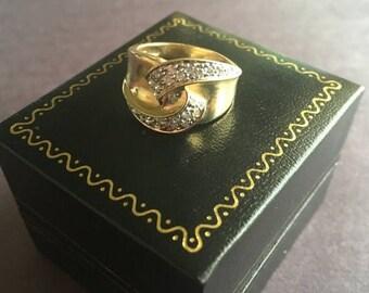 SALE Vintage Diamond Pave Crossover Twist Swirl 14K Gold Ring 1980s | 14K Gold Ring | Diamond Ring | Diamond Pave Ring | Vintage Diamond Rin