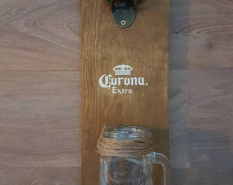 Wall Mounted Bottle Opener Mason Jar Bottle Cap Catcher  Rustic Upcycled Wood