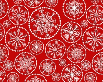 5 Yard Cut - Studio E - Holiday Basics, Snowflake on Red - Holiday