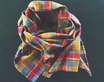 Autumn Plaid Flannel Blanket Scarf