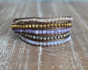 amethyst, crystal and gold wrap bracelet