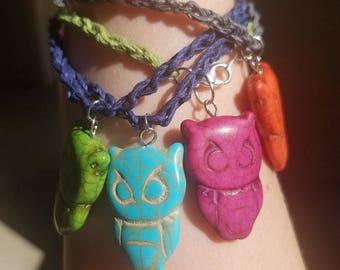 Braided Hemp Owl Bracelet