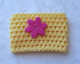 Flower Power Springtime Crochet Cup Cozy - Giant Pink Felt Button Everyday Cup Sleeve in Buttercup
