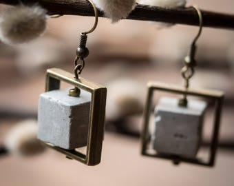 Cement and square brass cube earring. light weight.