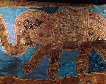 Indian elephant embroidered wall hanging