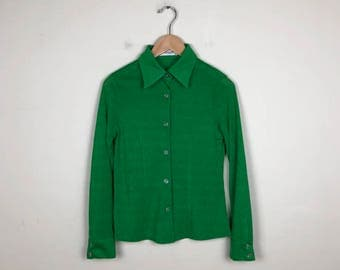 Vintage Green Button Up Size M, 70s Blouse