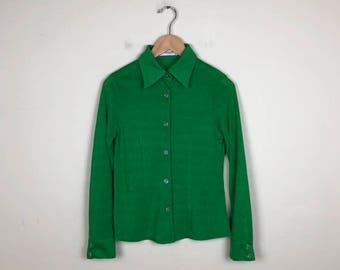 Vintage Green Button Up Size M, 70s Blouse