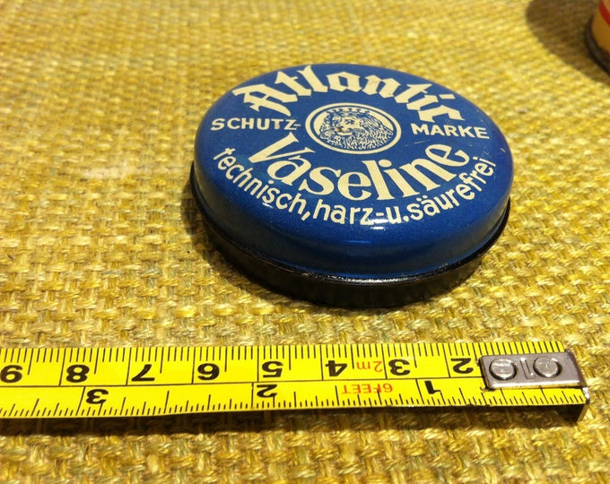 Vintage tin can German Atlantic Vaseline rare - top condition - old advertising