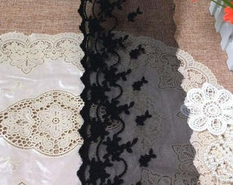 Vintage Black Mesh Embroidery Tassel Lace Trim 5.51 Inches Wide 1.09   Yard/ Craft Supplies, WL1750
