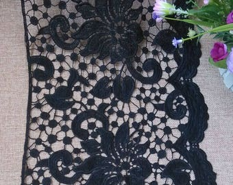 Vintage Black Hollow Flower Lace Trim 11.02 Inches Wide 1.09 Yard/ Craft Supplies, WL1723