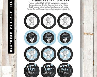 Printable Elephant Baby Shower Cupcake Toppers, Baby Shower Cupcake Toppers, Chalkboard Baby Shower Printables, Elephant Baby Shower Cupcake