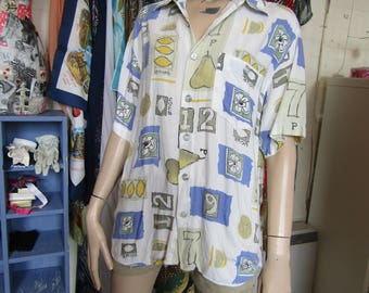 Crazy Print lemon oversized Shirt - size 10/12/14/16