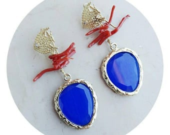 Beach jewelry blue earrings with natural coral, summer jewelry earrings for girls, dangle ocean earrings pisces beaded earrings gift for her