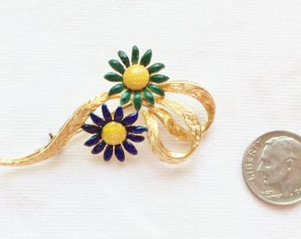 "Estate 18k HEAVY Yellow Gold Enamel Sapphire Brooch Flower Daisy HUGE 2"" Marked 750 18 K kt 18kt Vintage Statement 8.3g Giant Floral Dasies"