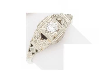 Vintage 18k White Gold Estate Genuine Diamond Wedding Ring Band Victorian 2.8g sz 5.75 Marked 18 k kt 18kt 750 Art Deco Antique Filigree