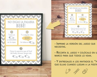 NO DIGAS BEBE - Baby shower game spanish - silver and yellow baby shower - Size 8 x 10 - 3 different versions - gender neutral  baby shower