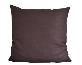 Brown linen pillow-cover, dark brown pillow, 50x50 cm/ 19,7x19,7 inch, for decorative pillow